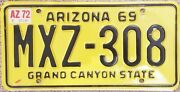 Two Vintage 1969 Arizona License Plates Front And Rear