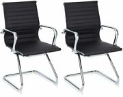 Klasika Office Guest Chair Leather Reception Without Wheels With Sled Base Set 2