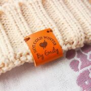Sew On Labels Handmade Knit Craft Leather Clothing Personalized Custom Name Tags