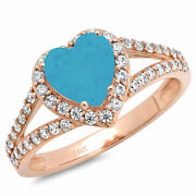 1.75 Heart Split Shank Simulated Turquoise Classic Statement Ring 14k Pink Gold