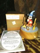 Mickey Sorcerer Anri Ltd.ed. Turning Wooden Music Box, Hand Painted, Carved, Mib
