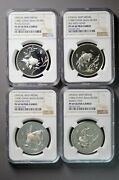 China 1984 And 1990 4-pc 18 Gram Goldfish Silver Medal Proof Set Ngc Pf69 Uc