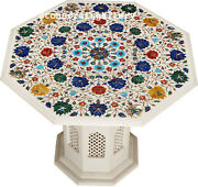 24 Marble Coffee Table Semi Precious Stones Floral Inlay With Marble Stand