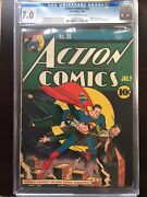 Action Comics 26 Cgc Fn/vf 7.0 Cm-ow Scarce Classic Cover