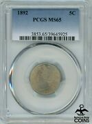 1892 United States Liberty Head Nickel 5 Cent Coin Pcgs Ms65 Km112