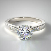 0.67 Carat Real Round Cut Diamond Engagement Ring Solid Platinum Band Size 6 7 8