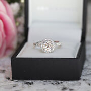 950 Platinum Round 0.86 Carat Real Diamond Engagement Rings For Her Size 5.5 7 8
