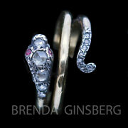 Antique Early Victorian Snake Ring 15ct Gold Silver Diamonds Rubies Unisex 6915