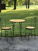 Vintage Twisted Iron Ice Cream Parlor Bistro Sweetheart Table And Chair Set For 4