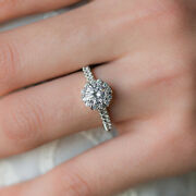 0.98 Carat Real Round Diamond Engagement Ring Solid Platinum Rings Size 5 6 7 8