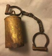 Antique 1800s Pirate Prisoner Hobble Shackles And Bell Alarm W/working Clapper