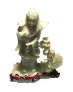 Vintage Antique Chinese Carved Jade Hardstone Maiden W/fish Figurine Bust Stand