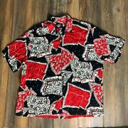 Vtg 80and039s Menand039s Jams World Paisley Scarf Do Rags All Over Button Down Shirt 2xl