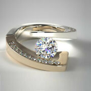 0.94 Carat 950 Platinum Round Real Diamond Engagement Ring For Her Size 5 6 7 8
