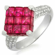 18k White Gold 0.45 Ct Diamonds And Invisible 5.05 Ct Ruby Square Ring Andraquor1056