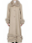 Belle Fare Swing Long Coat Cashmere Wool Angora Fox Fur Trim Sold Out