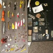 Lot X33 Vintage Fishing Lure Spinner + Supplies Metal X24 Fly Fies Fly Parts Etc