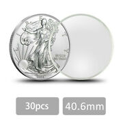 30 Pcs Lot Round Coin Capsules Plastic Coin Case Holder For Silver Eagle 1oz