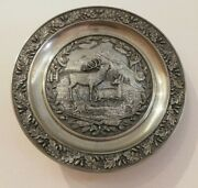 Vintage Antique Metal Pewter Hanging Plate Blf-zenn 95 Germany Dears Couple .