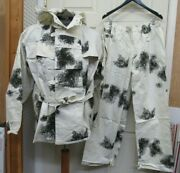 West German Snow Camo Smock Jacket W/ Detachabl Hood And Trousers Pants Smalll Nos