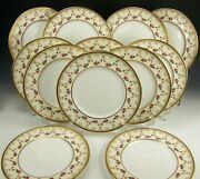 12 Royal Doulton Hand Painted Roses Flower Garland Raised Gold Dinner Plates