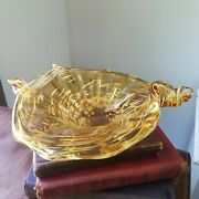 Blown Glass Twisted Candy Dish Trinket Bowl Man Cave Vintage Pale Amber And White