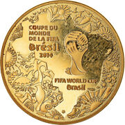 [854899] France 50 Euro Fifa World Cup Brazil 2014 1/4 Oz Ms Gold