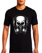 Skull Gas Mask Audio Music Lovers Awesome Graphic T Shirt