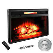 Insert Electric Fireplace Heater Remote Control Realistic 3d Log Flame Mount In