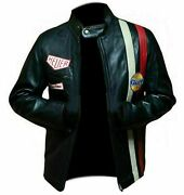 New Menand039s Steve Mcqueen Black Racing Genuine Leather Jacket - Free Shipping