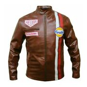 New Menand039s Steve Mcqueen Brown Racing Genuine Leather Jacket - Free Shipping