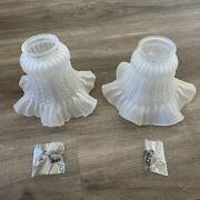 2 Frosted Glass Flower Petal Replacement Shade For Ceiling Light Wall Sconce 4
