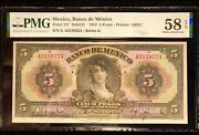 1933 Mexico 5 Pesos P 21f M4615f Gypsy Pmg 58 Epq Great Color And Eye Appeal