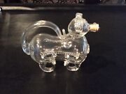 Mid Century Danish Clear Glass Dog Decanter Snapshund By Holmegaard C.1960's