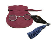 Vintage Antique England Sterling Silver Pince-nez Spectacles Round Glasses Case
