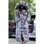 130cm Long Real Silver Fox Fur Coat Winter Fashion Whole Skin Fox Fur Jacket