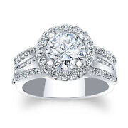 Solid 14k White Gold Rings 1.88 Ct Round Moissanite Engagement Womenand039s Ring 6 7