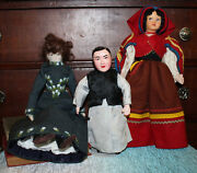 Vintage Lot Of 3 Dolls Fabric Hand Made Real Hair Porcelain Asian Ethnic Felted