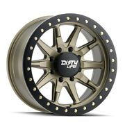 Dirty Life 9304 Dt-2 Bl 17x9 6x139.7 Et-12 Stn Gold/simulated Bl Ring Qty Of 4