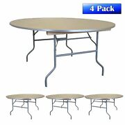 4 Commercial 6ft Round Folding Table Event Party Banquet Wooden Dining Table