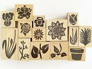 Hot Potatoes Rubber Stamp Huge Lot Of 14 Flower Plant Parts Tulip Daffodil Iris