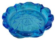 """Vintage Clear Blue Glass Round Retro Ashtray Bowl Dish Floral Etched Bottom 9.5"""""""