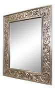 Large Finely Carved Silver Gilt Beveled Wall Mirror