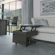 Tuhome Furniture Luanda Lift Top Coffee Table With Casters In Espresso - Carbon