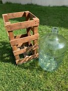 5 Gallon Checkerboard Carboy Glass Water Bottle Demijohn Crisa Mexico In Crate