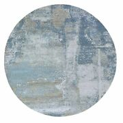 8and039x8and039 Round Abstract Design Wool And Silk Hand Knotted Oriental Rug G59300