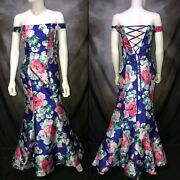 New My Michelle Royal Blue Floral Mermaid Prom Pageant Dress Sz 1 Nwt