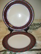 Arita Tartan Red Plaid One Large Chop Plate Charger And One Dinner Plate Euc Minty