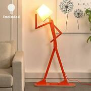 Hroome Cool Creative Floor Lamps Wood Tall Decorative Reading Standing Adjust...