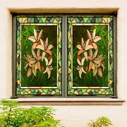 3d Lily Green 1900nao Window Film Print Sticker Cling Stained Glass Uv Block Fa